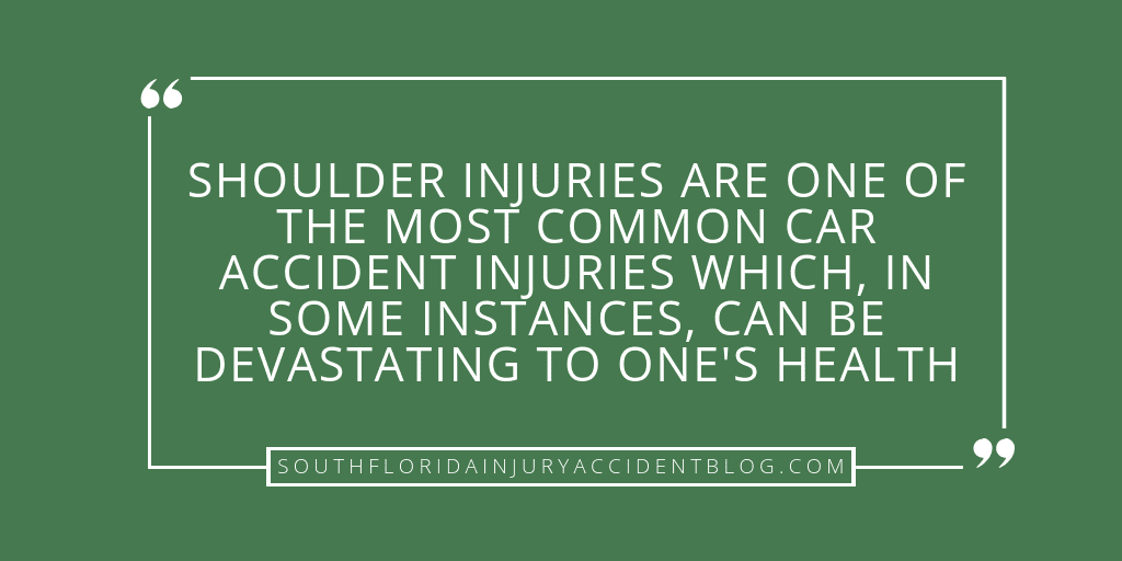 Shoulder injuries are one of the most common car accident injuries which, in some instances, can be devastating to one's health